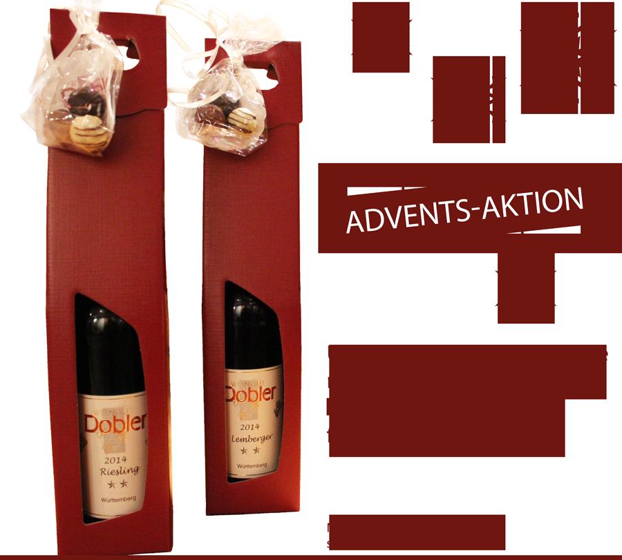 Adventsaktion: Unser Pralinentrio wahlweise mit Riesling oder Lemberger 2-Stern im Geschenkkarton für nur 9,50 €!