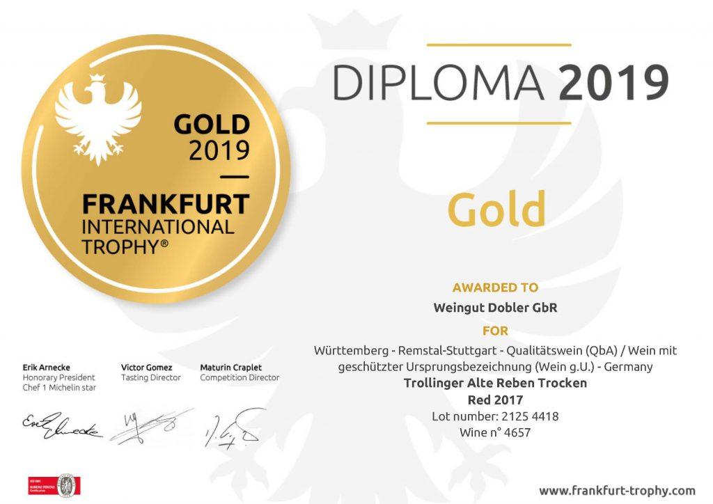 Trollinger Alte Reben 2017 vom Weingut Dobler mit Gold bei Frankfurt International Trophy